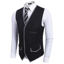 Men Slim Fit Single-Breasted Button Down Patchwork Business Vest WT8801