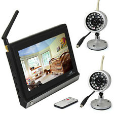 """Remote Control Wireless 7"""" TFT LCD Video Baby Monitor+ 1or2 Night Vision Camera"""