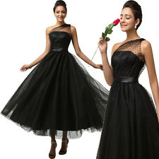 MASQUERADE Long Formal Ball Gown Party Cocktail Black Tulle Evening Prom Dress