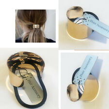 GOLD Hair Ponytail Ring Cover Metal Cuff with Black Elastic Hair Style Hold Band