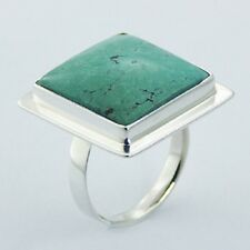 Silver ring 925 sterling handmade Square Turquoise Gemstone size adjustable new
