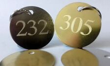 Engraved HOTEL KEY FOB RING TAG NUMBER - B&B Guest House Brass Steel Room