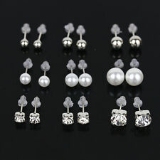 9 Pairs Silver Gold Crystal Pearl Ear Stud Earrings Women Lady Sparkling Jewelry