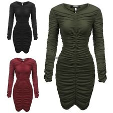 Women's V-Neck Long Sleeve Stretchy Ruched Bodycon Party Dress WT8801