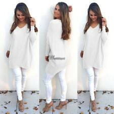 New Fashion Women V-Neck Batwing Sleeve Soft Tops Solid Shift Loose Casual WT89