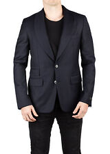 Prada Men's Virgin Wool Shawl Lapel Suit Sport Jacket Coat Blazer Dark Navy Blue