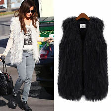 Women Long Hair Jacket Waistcoat Faux Fur Shaggy Vest Sleeveless Coat Outerwear