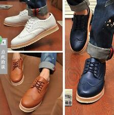 Mens Oxford Flats Brogue Wing tip Retro Oxfords Sneakers Lace-up Casual Shoes #