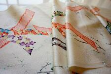 JPI*White rinzu* Vintage Japanese Kimono Silk Fabric--patchwork,quilt,panel