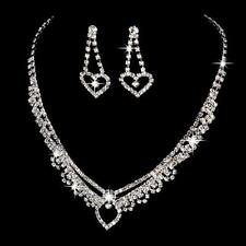UK STOCK HEART Diamante Wedding Bridal Bride Bridesmaid Necklace Earrings Set