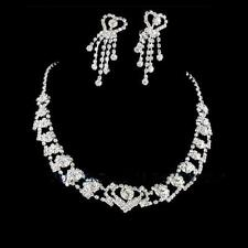 Heart Diamante Prom Party Wedding Bridal Bride Bridesmaid Necklace Earrings Set