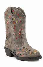 Roper Boots Infant Brown Faux Leather Blossom Floral Print Girls Cowboy