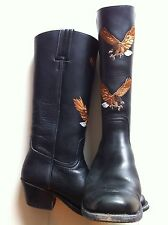 SANCHO BLACK REAL LEATHER BOOTS SIZE EU38 /UK5 ~Cowboy/Western/Embroidered Eagle