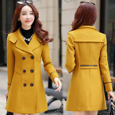 Women Spring Double Breasted Wool Trench Coat Slim Long Jacket Overcoat Outwear