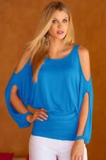 Women Off Shoulder Summer Puff Sleeve O Neck Casual Blouse