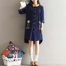 New Women Literary Asymmetry Patchwork Long Sleeve Embroidery Shirt Dress