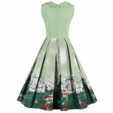 Women Floral Paint Dress Elegant Green Vintage Gown Swing Party Dresses