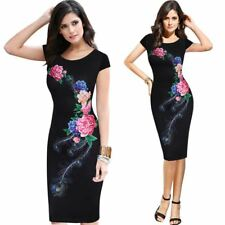 Women Elegant Flower Floral Printed Pinup Casual Evening Party Dress
