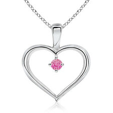 "Solitaire Round Natural Pink Sapphire Heart Pendant Necklace 14k Gold 18"" Chain"