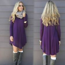 Women Fashion Autumn Winter Woolen Cotton Blend O-neck Long Sleeve Mini Dress