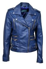 DESTINY Ladies BLUE Biker Style Fitted Vintage Real Soft Nappa Leather Jacket