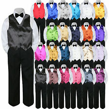 23 Color Vest Black Bow Tie Pants Boy Baby Toddler Formal Tuxedo Suit 4pc sz S-7