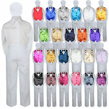 23 Color 5 pc Set Vest Bow Tie Boys Baby Toddler Formal Suit White Hat Pants S-7