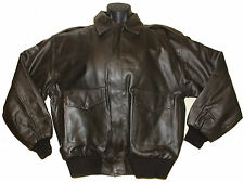 MENS A2 LEATHER JACKET AIRFORCE US PILOTS FLIGHT CREW BOMBER MILITARY BROWN