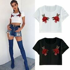 Sexy Women Embroidery Rose Crop Tops Midriff-baring Blouse Hippie Style T-Shirt