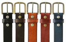 "One Piece Genuine Leather Casual Work Belt 1-1/2"" Wide Antique Brass Buckle"