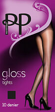 New Pretty Polly 10 Denier Sheer Gloss Tights, Black/Nude, Sizes S/M M/L And XL