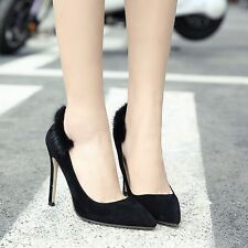 New Sexy Pointed Toe Shallow Rabbit Hair High Heels Stilettos Pumps Womens Shoes