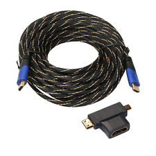 Braided HDMI Cable V1.4 AV HD 3D for PS3 Xbox HDTV 1M-15M Meters 1080P DF LOT