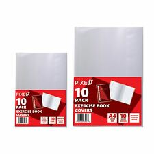"Pixel® Exercise Book Covers A4 & 9""x7"" Slip on & Self Adhesive Covers - 10 Pack"