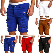Popular Men's Casual Ripped Jeans Denim Cargo Cuffed Knee Trousers Shorts Pants