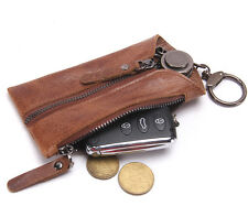 Genuine Cow Leather Men's Car Key Wallet Credit Card Holder Coin Pouch Key Case