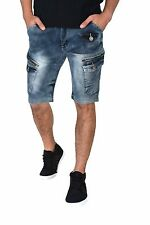D-coy Mens biker slim fit premium denim Shorts jeans.  5 WASHES (D7560)