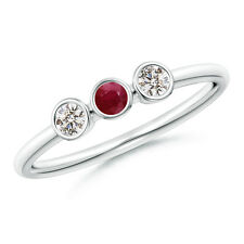 Natural Round Cut Diamond Ruby Three Stone Ring 14k White Gold / PlatinumSize 7