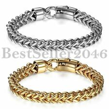 Fashion Smooth Wide Stainless Steel Chain Mens Womens Cuff Bangle Bracelet 8MM
