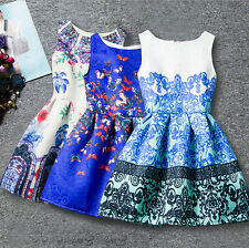 Girls Floral Print Belted Dress Kids Summer Skater Party Dress For 7-13 Years
