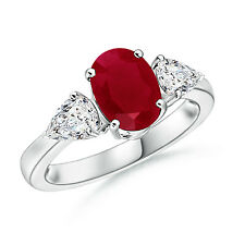 Oval Natural Ruby Diamond Three Stone Engagement Ring 14k White Gold/ Platinum