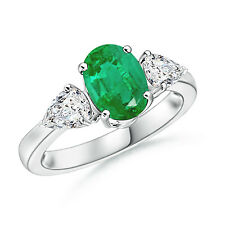 Oval Natural Emerald Diamond Three Stone Engagement Ring 14k White Gold/Platinum