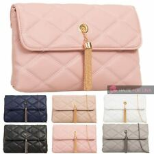 NEW FAUX LEATHER QUILTED CHAIN STRAP CHAIN TASSEL DETAIL HANDBAG CLUTCH BAG