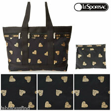 LeSportsac Razzmatazz Medium Travel Tote w Matching Cosmetic Bag NWT Black/Gold