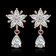 18K Rose Gold Filled GP Women Swarovski Crystal Snowflake Wedding Drop Earring