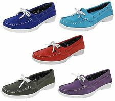 Womens New Suede Leather Annabelle Deck Boat Casual Formal Comfort Shoes UK 3-8