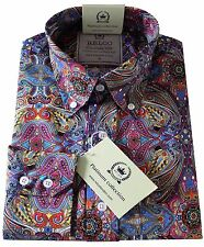 Relco Men's Multi Paisley Long Sleeved  Button Down Collar Mod 60's Indie Shirt