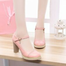 Womens High Block Heels Platforms Mary Janes Round Toe Pumps Shoes New!!!