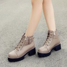 Womens Synthetic Leather Lace Up Platforms High Cuban Heels Ankle Boots Shoes