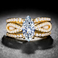 18k Yellow Gold Plated Marquise Cut White Sapphire 3pc Wedding Ring Size 7-9
